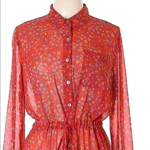 Jessica Simpson red Floral shirt dress